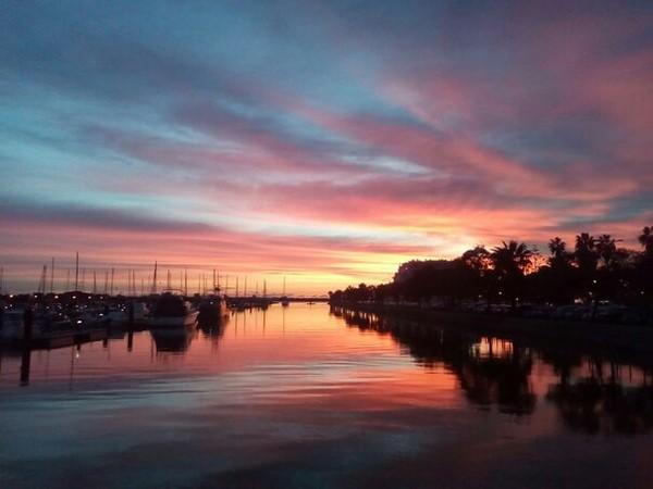Закат закат, яхта, фото на тапок