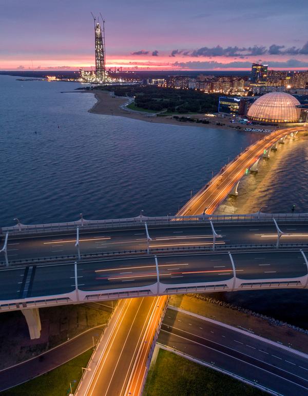 Закат над заливом и Лахтой в Санкт-Петербурге Санкт-Петербург, квадрокоптер, Битва закатов, закат, фотография, Лахта-центр, длиннопост