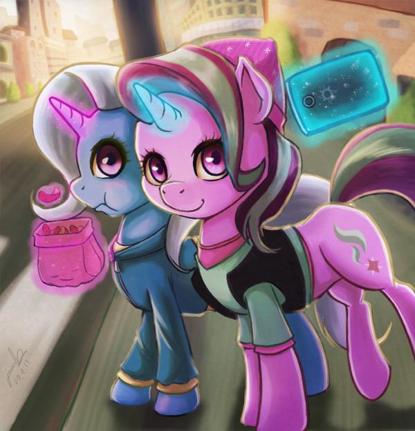 Selfie My Little Pony, ponyart, Starlight Glimmer, Trixie