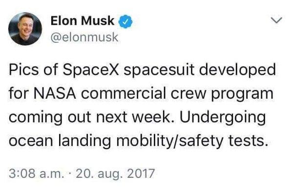 Анонс презентации космического скафандра SpaceX. Илон Маск, Dragon v2, spacex, Falcon 9, twitter, космос, лента