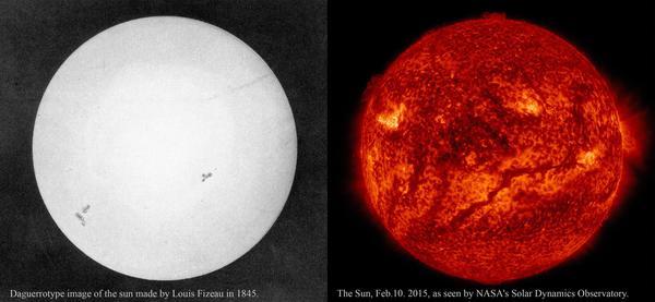 Одна из первых фотографий Солнца и современный снимок космос, солнце