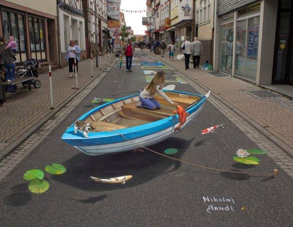 The air river DeviantArt, Арт, стрит-арт, 3D рисунок, девушки, Лодка, улица