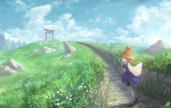 По дороге в Храм аниме, Anime Art, touhou, Moriya Suwako