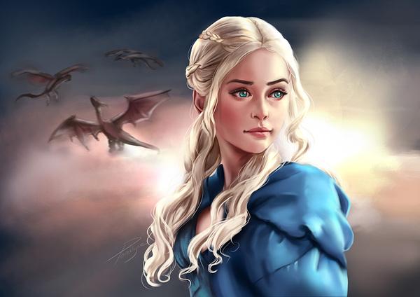 Немного артов с Дени Игра престолов, Дейенерис Таргариен, дракон