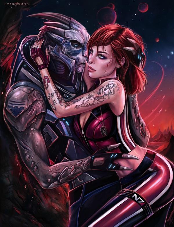Mass Effect by Eva Kosmos Eva Kosmos, mass effect, Шепард, femshep, гаррус, Сара Райдер, джаал, арт, длиннопост