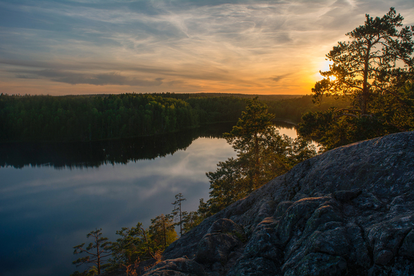Закат на озере Ястребиное закат, фотография, Природа, Озеро, Ястребиное