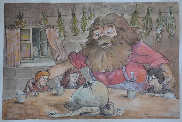 Вылупление Норберта иллюстрации, акварель, тушь, арт, Гарри Поттер, дракон, видео