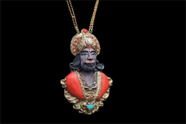 Хануман Хануман, Рамаяна, Индия, Мифология, Рукоделие без процесса, Кулон, Скульптурная миниатюра, Индуизм
