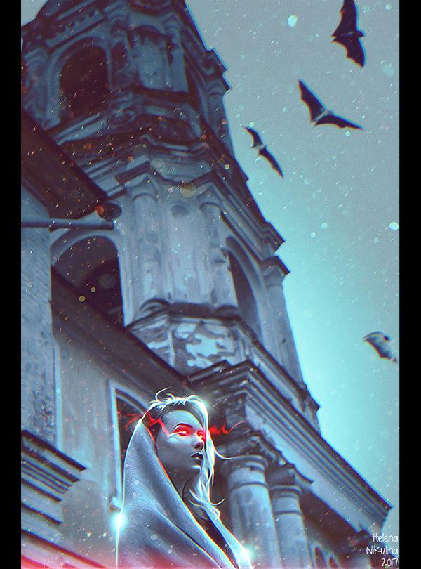 And Afterward the Dark. арт, Елена Никулина, вампиры, летучие мышы, дарк