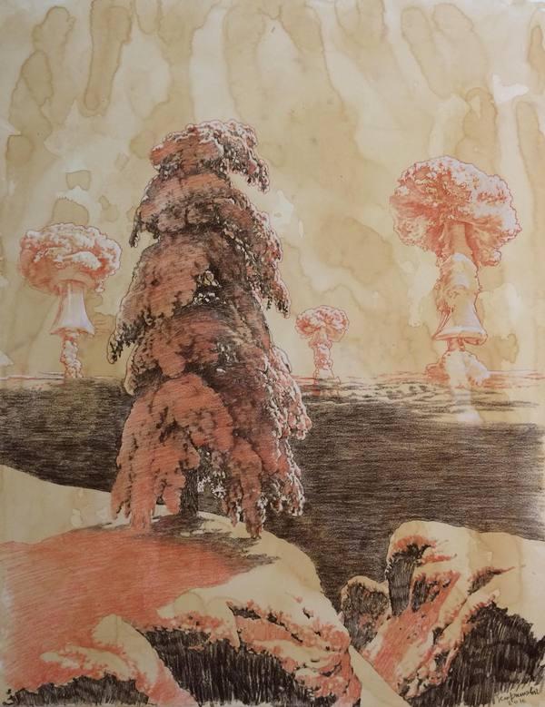 """""""Эхо"""" 2016 бумага, сепия, мел 90Х70 см"""