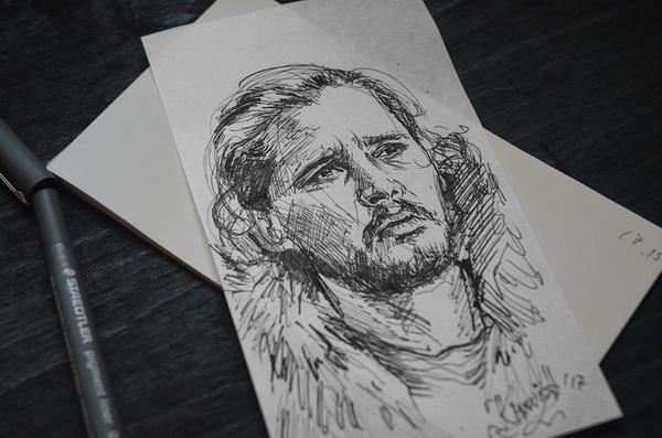 Game of Thrones | графика, линеры Моё, Игра престолов, Творчество, Рисунок, Портрет, Джон Сноу, Лига художников, Длиннопост