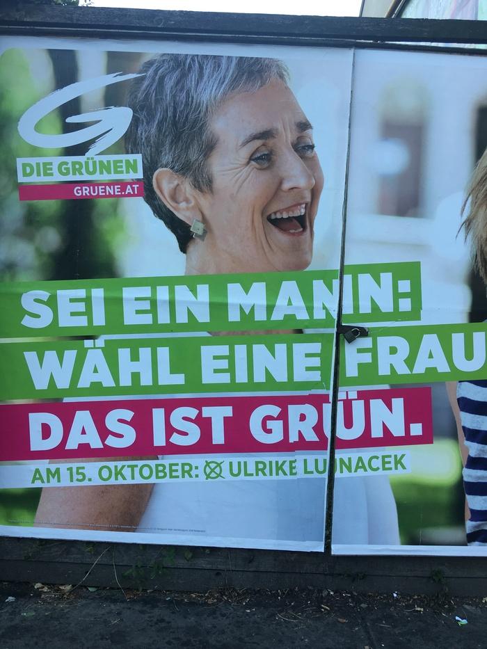 Будь мужчиной, выбери женщину. Плакат зелёных в Вене