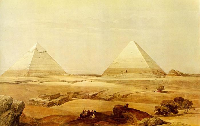 Дэвид Робертс. Памятники Египта до проведения раскопок Древний египет, древность, рисунок, длиннопост