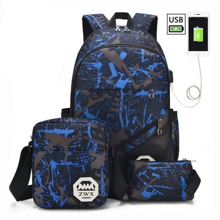 [Скидка 60%] 3 сумки  (Рюкзак с USB разъёмом для зарядки , наплечная сумка, барсетка) Рюкзак, Скидки