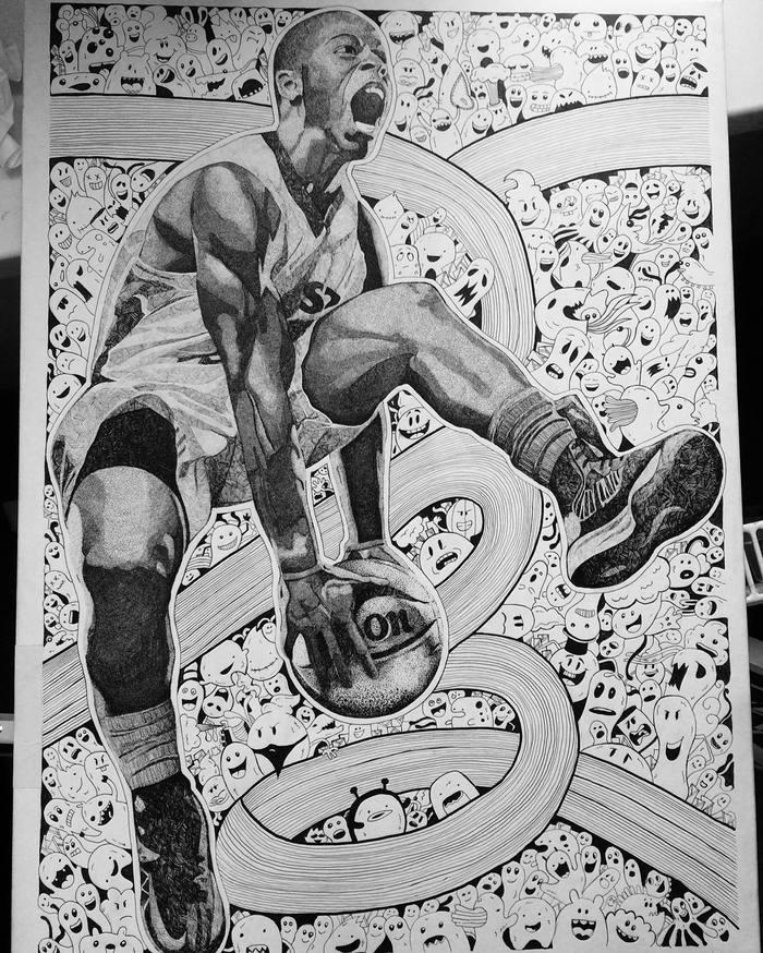 Моя работа) Баскетболист, Арт, Черно-Белое, Чб, Художник, Селфи, Длиннопост
