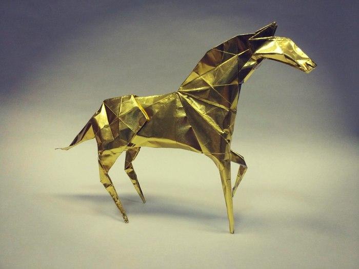 """Пост-пятничное """"моё"""". Horse by Hideo Komatsu. Оригами, Моё, Лошадь, Бумага, Привет читающим тэги"""