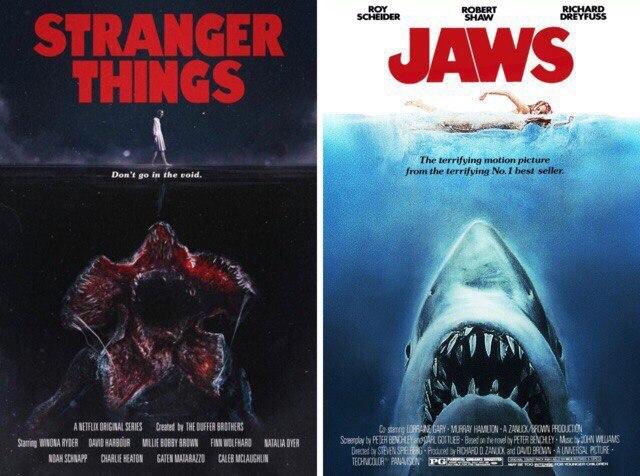 Постеры сериала «Очень Странные Дела» воссоздают легендарные постеры к фильмам 80-х. Постеры к фильмам, Очень странные дела, Челюсти, Чужой, Кошмар на улице вязов, Бегущий человек, Длиннопост