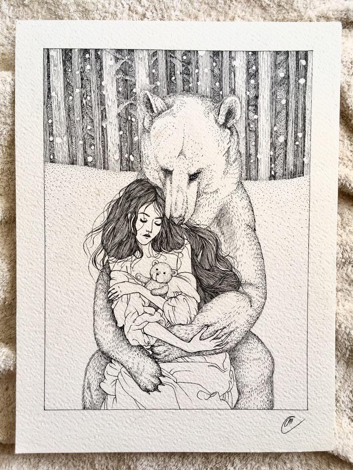 Девушка с мишками Рисунок на бумаге, Девушка и медведь, Графика, Иллюстрации, Первый пост