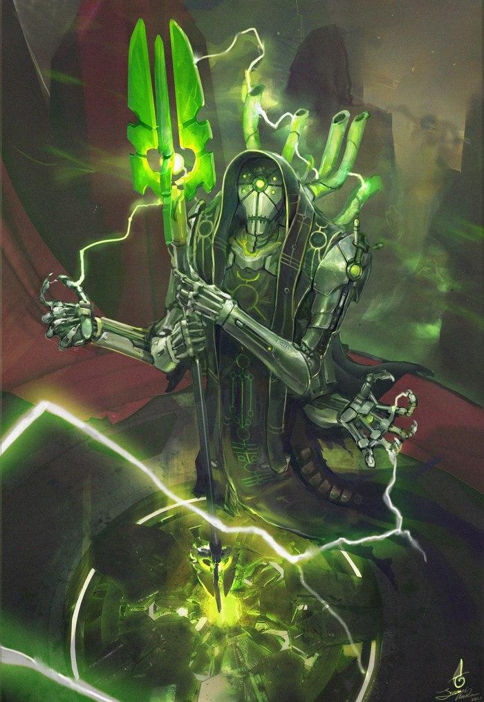 Cirrikan, the Technomancer Warhammer 40k, Wh art, Necrons, Арт, Рисунок