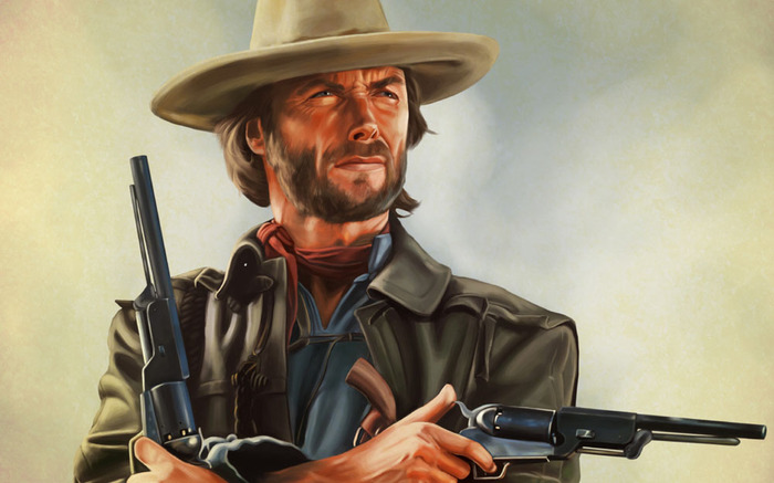 Рисованного Иствуда в ленту. Клинт Иствуд, Рисунок, Вестерн, Хороший плохой злой, За пригоршню долларов, Длиннопост