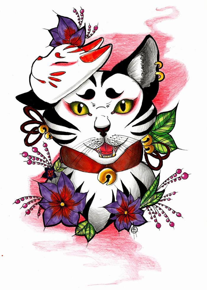 Субботний котик. Рисунок, Графика, Кот, Эскиз татуировки, Арт, Творчество