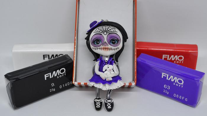 Мексиканская девочка из полимерной глины Полимерная глина, Хэллоуин, Брелок, Мастер-Класс, Творчество, Рукоделие, Фимо, Длиннопост