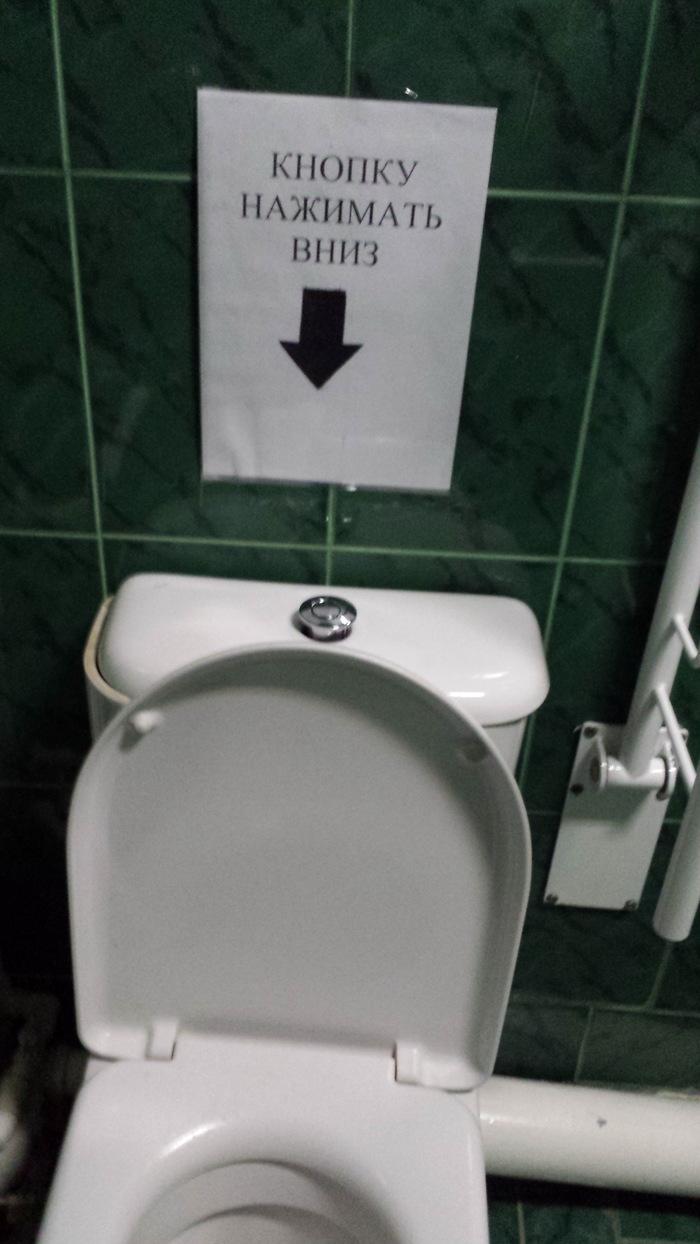 Кнопку нажимать вверх Странные объявления, Туалет, Логика