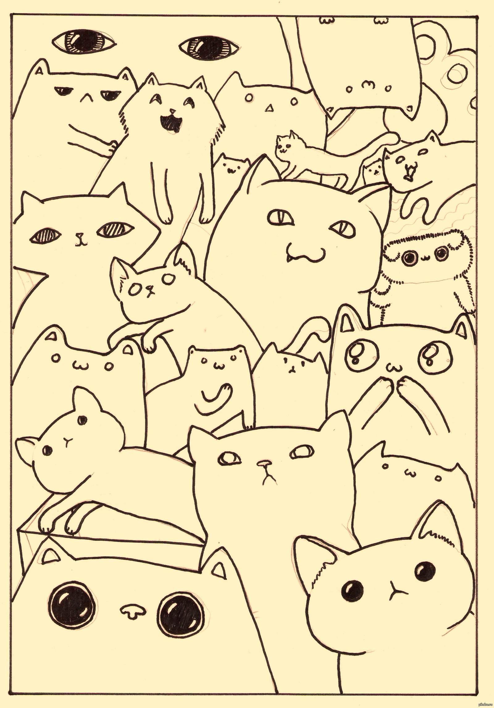 захотел картинка много котиков черно белая несколько последних