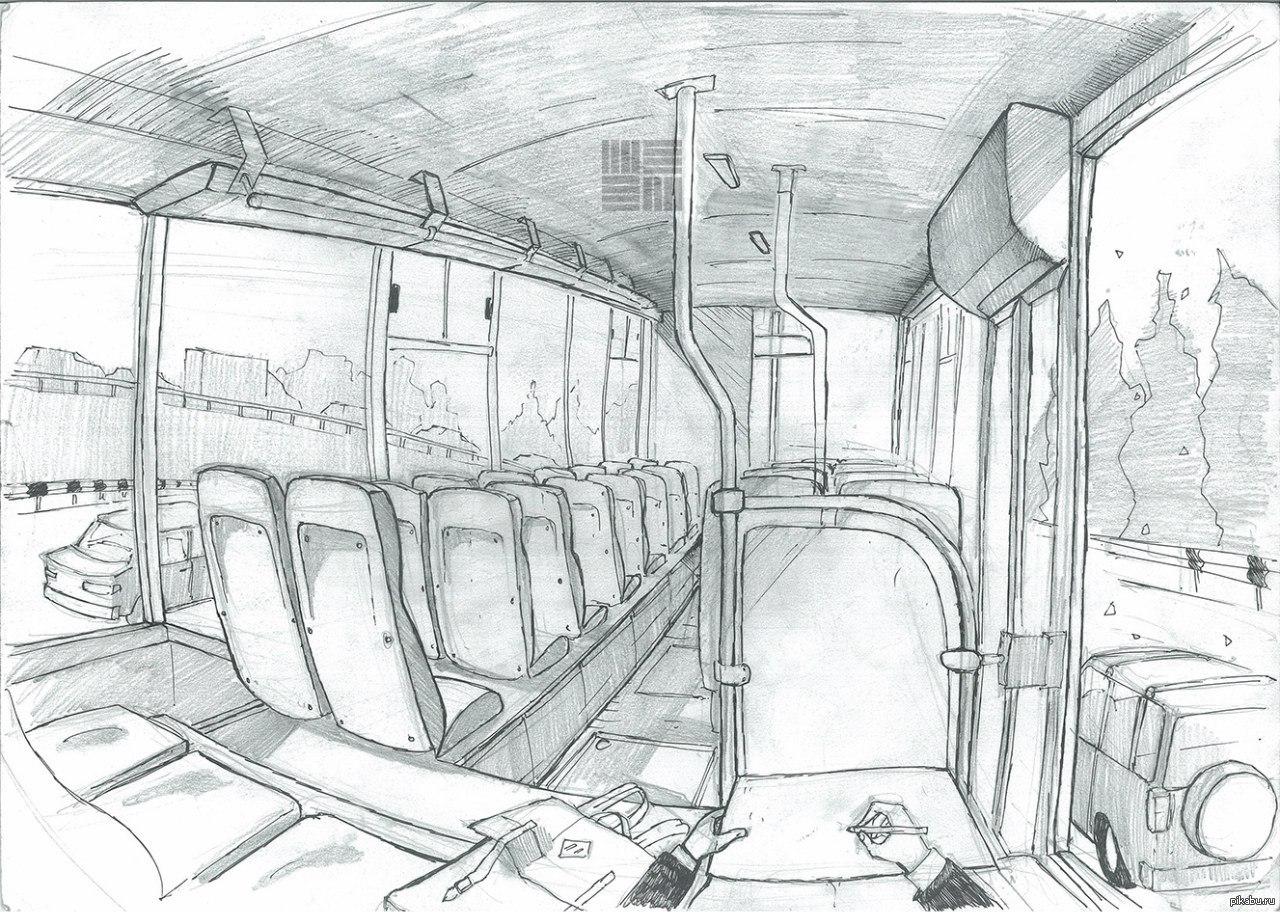 картинка карандашом вагон грудью