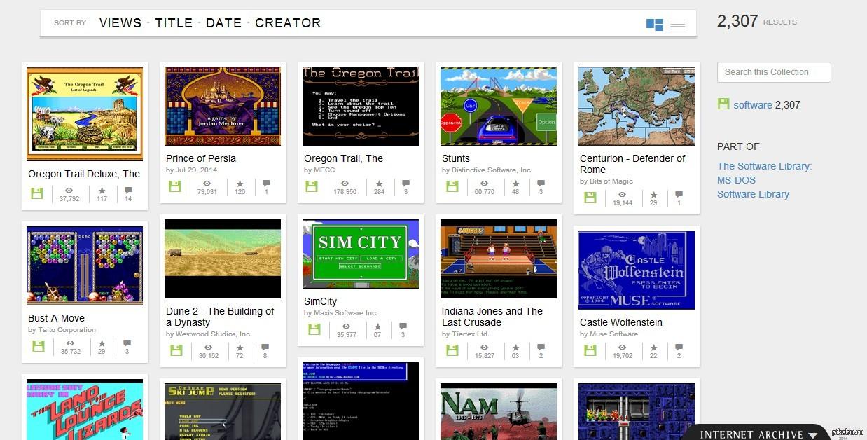 Internet Archive выложил более 2300 бесплатных игр под MS