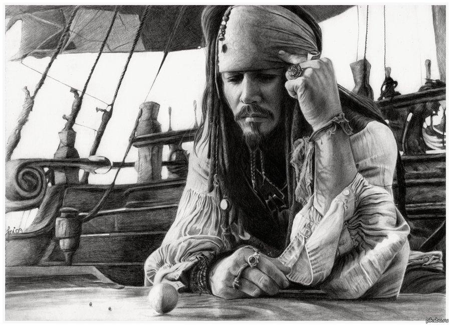 Пираты карибского моря рисунки карандашом джек воробей