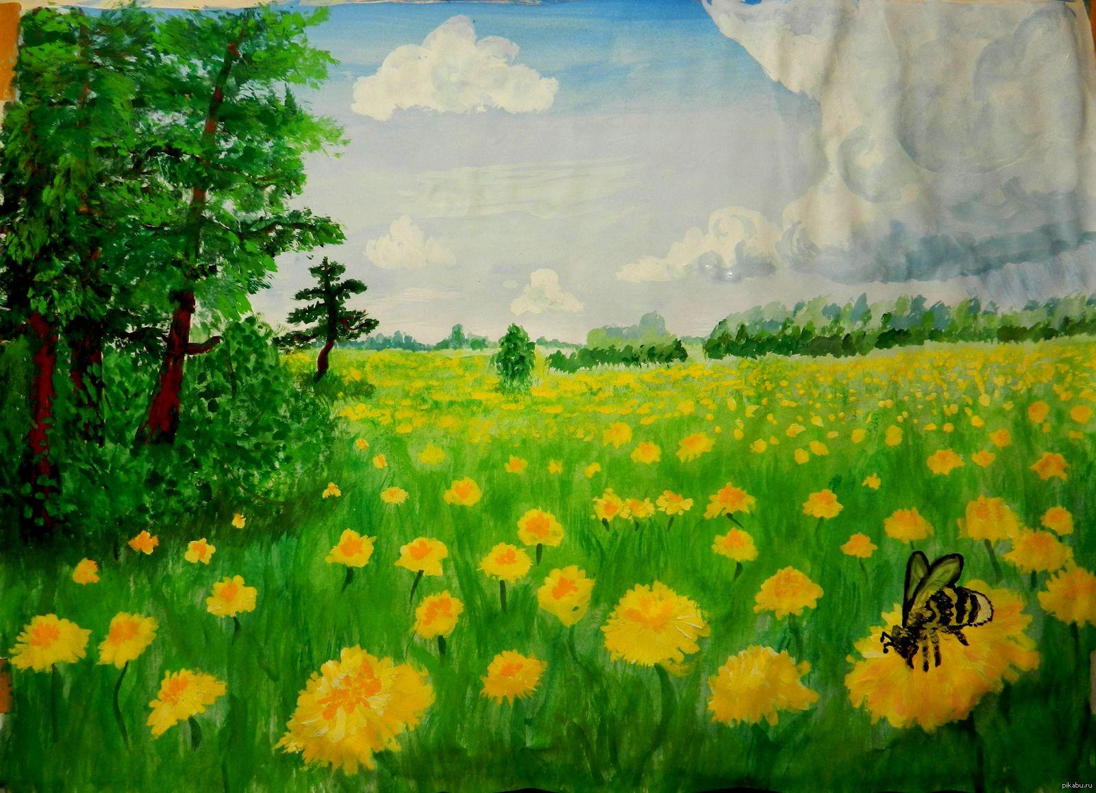 лето природа рисунок вкусный, внутри