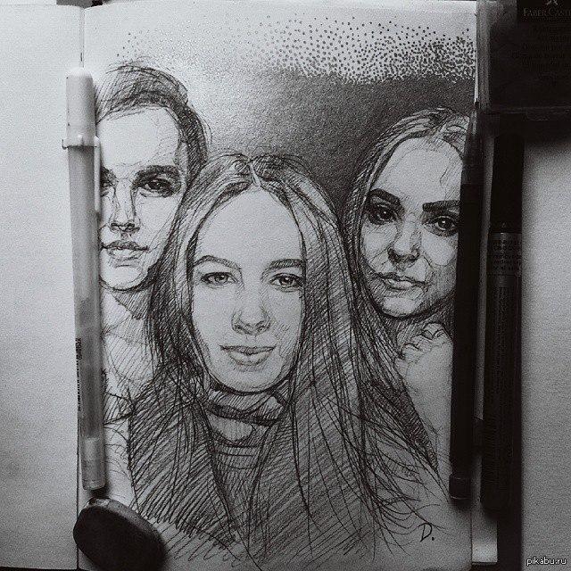 Картинки селфи карандашом