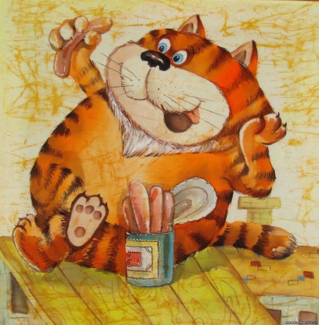 Рисунки смешных рыжих котов, девушки