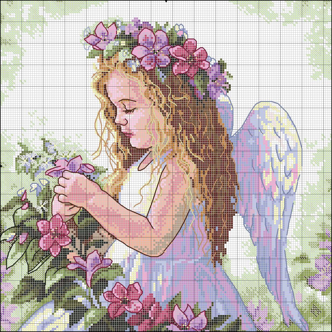 Вышивка ангел на руках